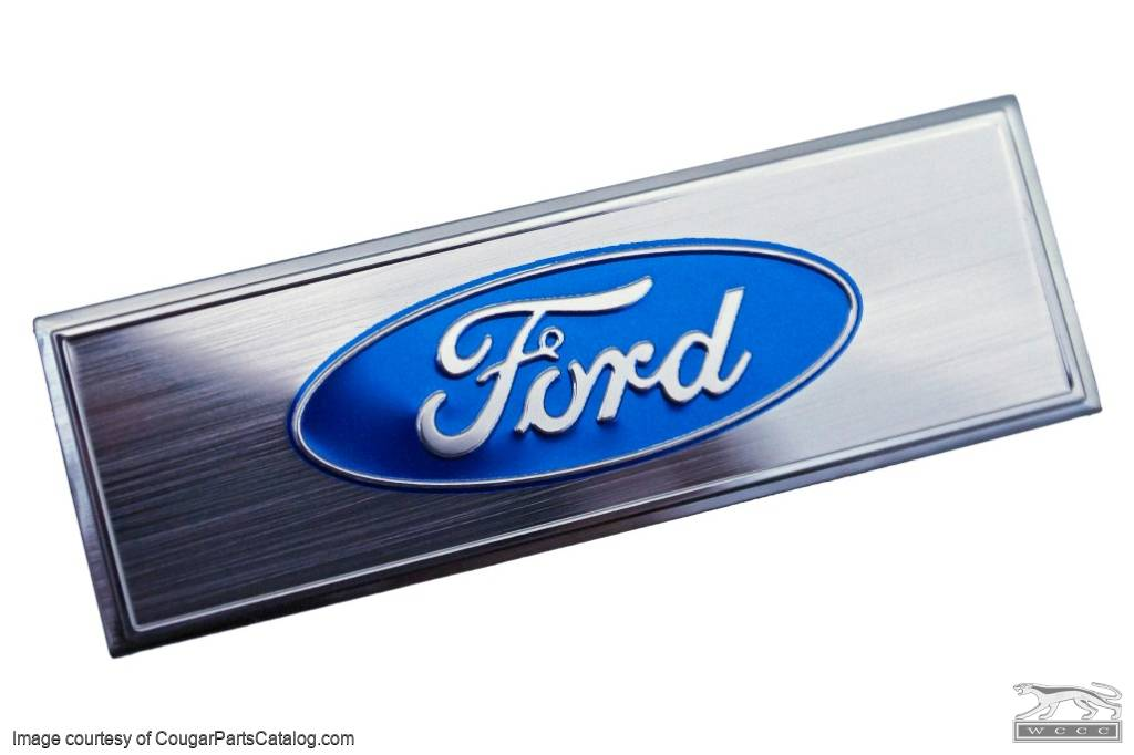 Emblem - Door Sill Scuff Plate - Blue Oval Ford Logo - EACH - Repro ~ 1968 - 1973 Mercury Cougar / 1968 - 1973 Ford Mustang - 26105