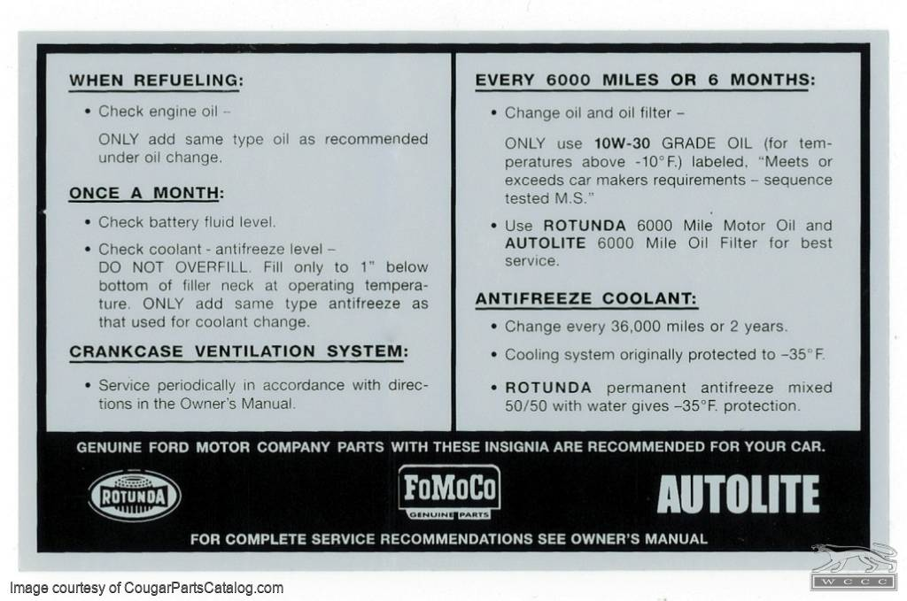 Decal - Service Specifications - Repro ~ 1967 - 1969 Mercury Cougar / 1967 - 1969 Ford Mustang - 26279