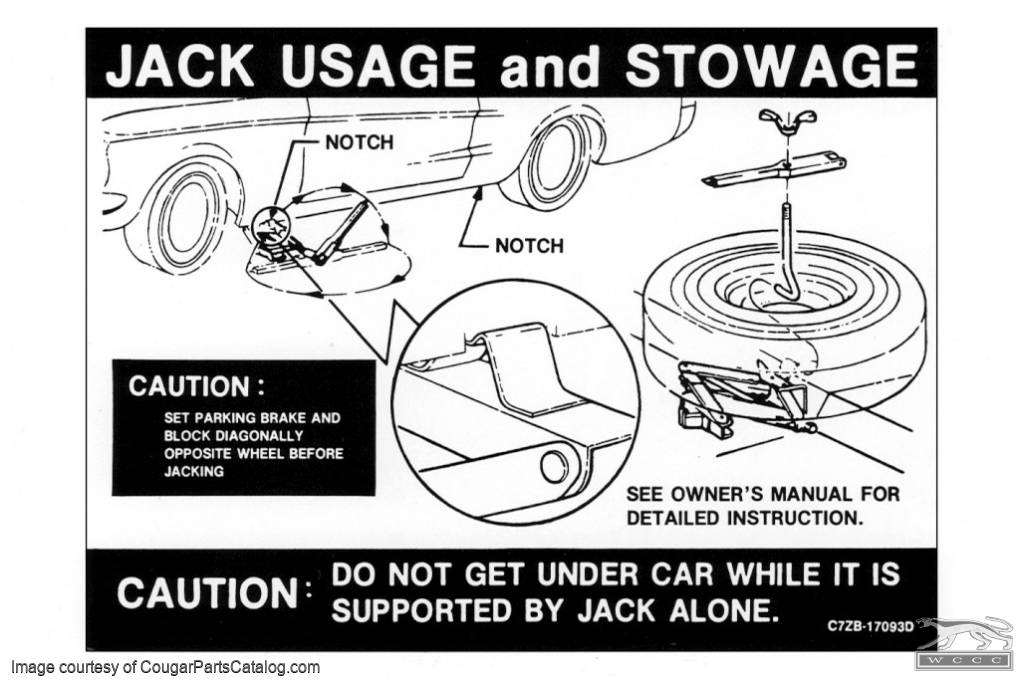 Jack Instructions Decal - Repro ~ 1967 Mercury Cougar - 1967 Ford Mustang - 26443