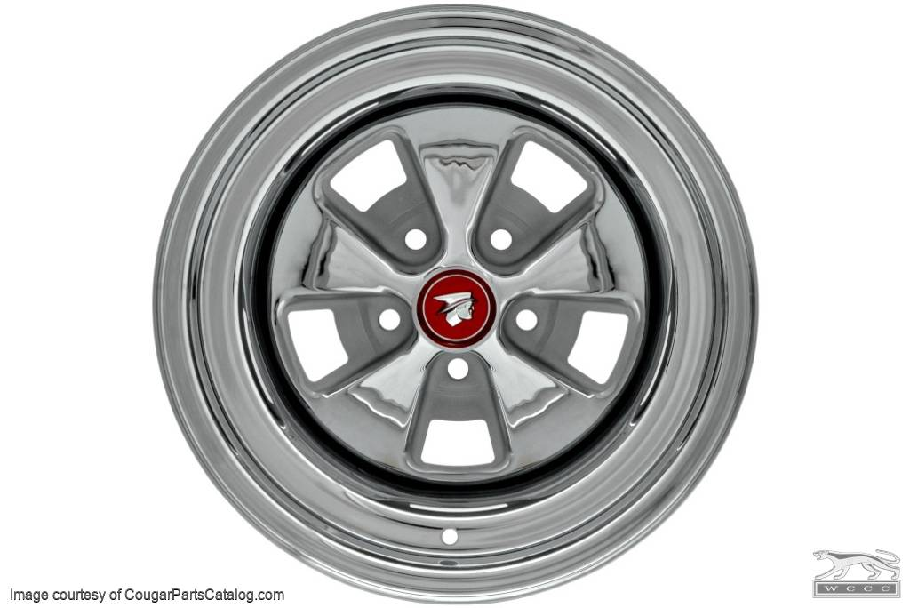 Styled Steel Wheel - 15 X 8 Inch - Chrome Outer - Repro ~ 1967 - 1968 Mercury Cougar - 23433