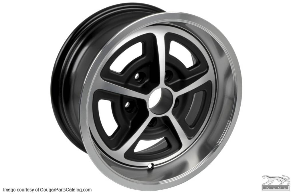 Magnum 500 Wheel - 15 X 7 Inch - Satin Finish - Aluminum - New ~ 1967 - 1973 Mercury Cougar / 1967 - 1973 Ford Mustang - 26918