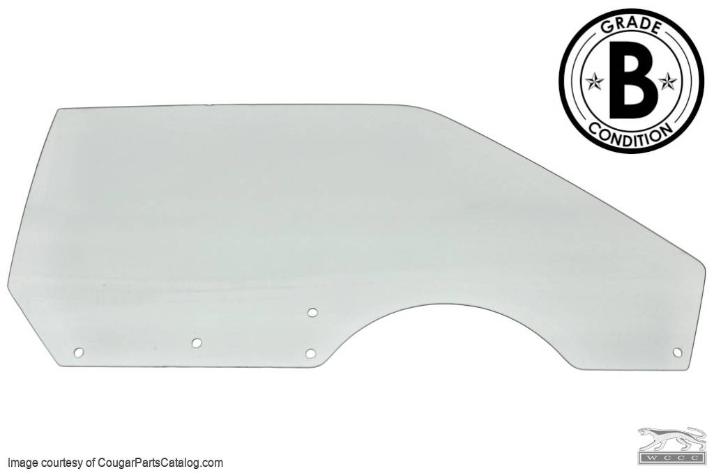 Door Glass - CLEAR - Passenger Side - POWER - Grade B - Used ~ 1971 - 1973 Mercury Cougar / 1971 - 1973 Ford Mustang - 20485