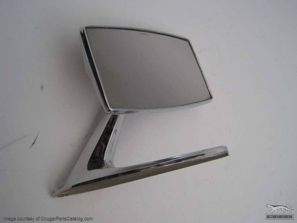 Side View Mirror - Driver Side - Manual Standard - Grade B - Used ~ 1971 - 1973 Mercury Cougar / Ford Galaxie - 24005