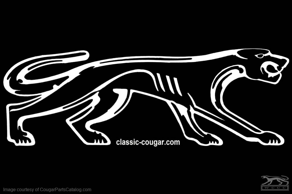 Decal walking cat logo small 6 5 white right facing new fits 1967 1973 mercury cougar
