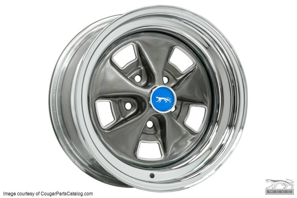 Styled Steel Wheel - 15 X 8 - Chrome Outer - Repro ~ 1969 - 1970 Mercury Cougar - 23551