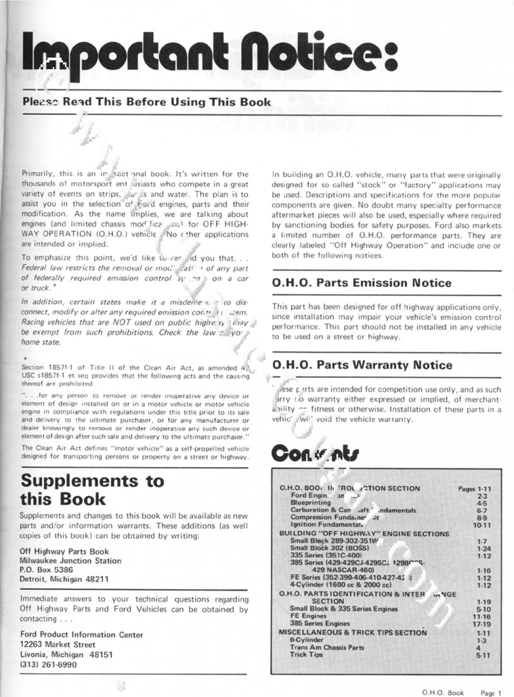 Off Highway Parts Manual - Repro ~ 1960 - 1970 Ford - Mercury - 25950
