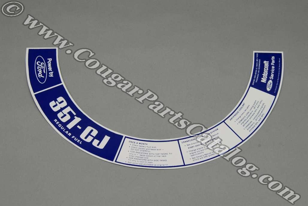 Air Cleaner Decal - 351 4V CJ - Repro ~ 1972 Mercury Cougar - 1972 Ford Mustang - 26368