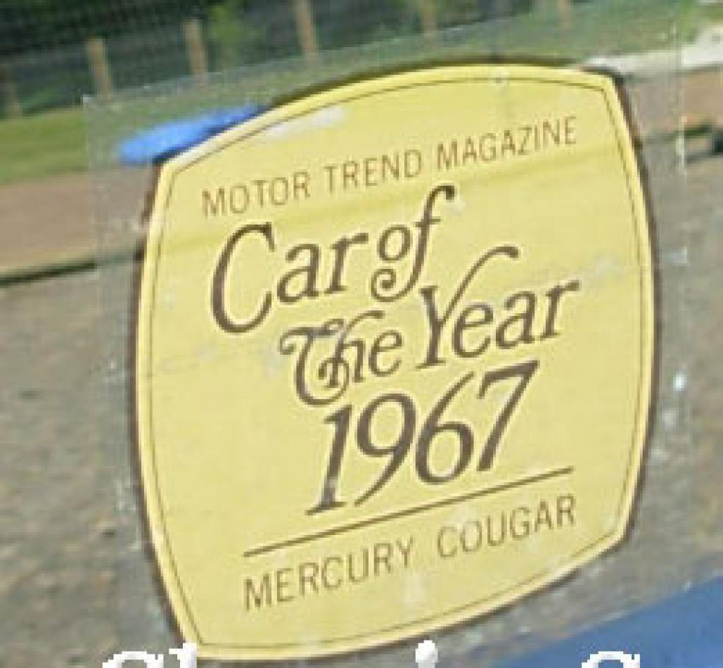 Decal - BLACK / GOLD - Car Of The Year - NOS ~ 1967 Mercury Cougar - 26377