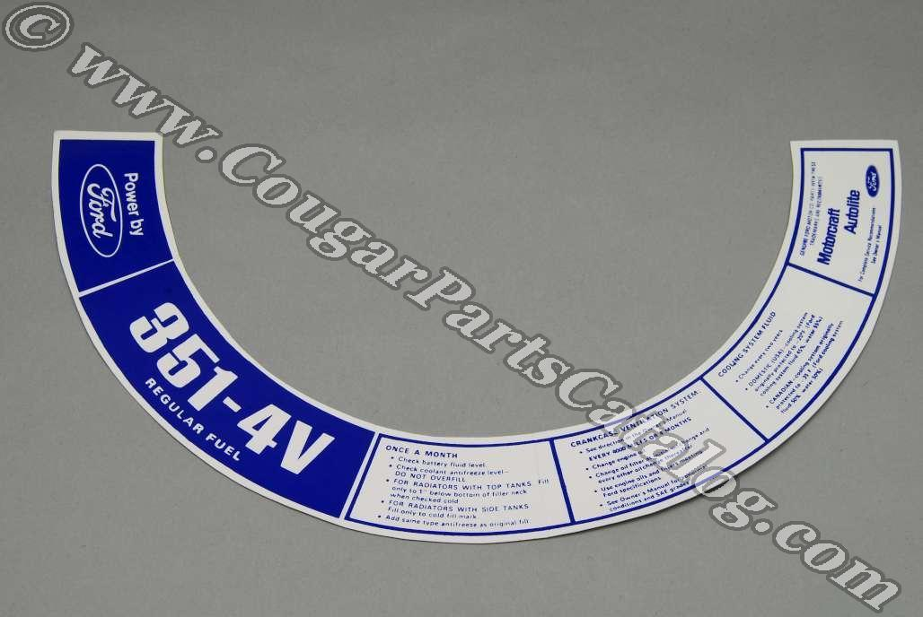 Ford or Mustang 302-4V  Air Cleaner Decal  #183
