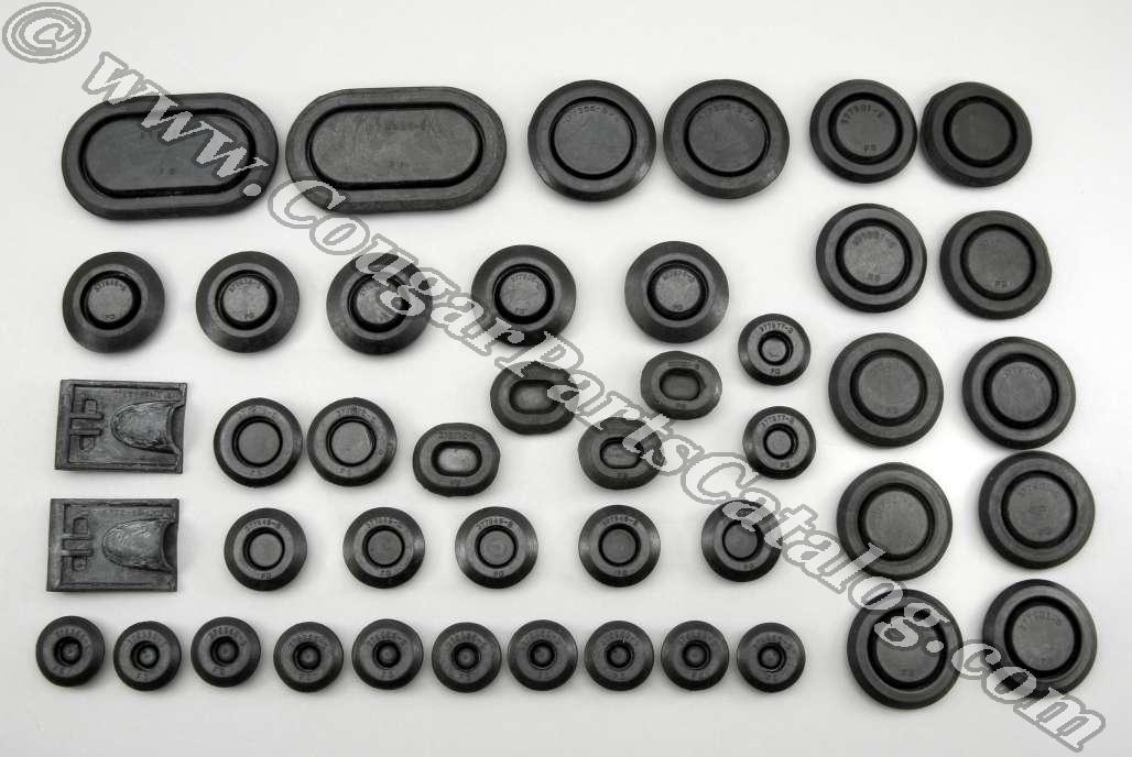 Body Plug Kit - Complete Kit - Rubber - Set of 44 - Repro ~ 1969 - 1970 Mercury Cougar / 1969 - 1970 Ford Mustang - 26488