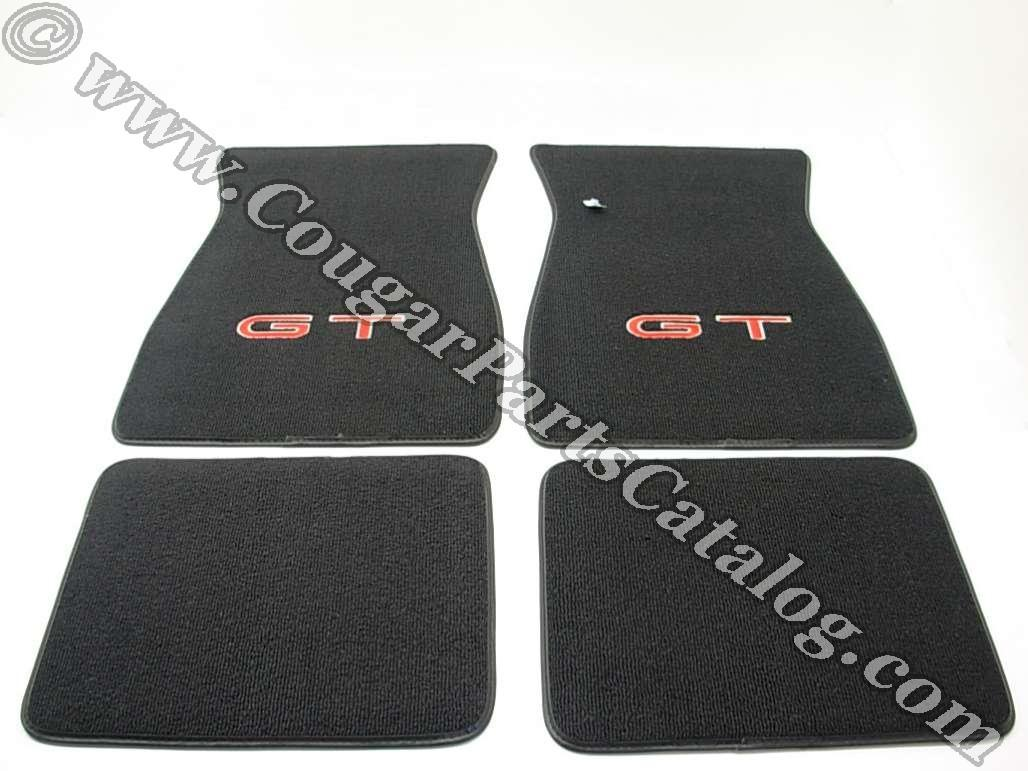Floor mats black carpet red gt letters w silver for 1967 ford mustang floor mats