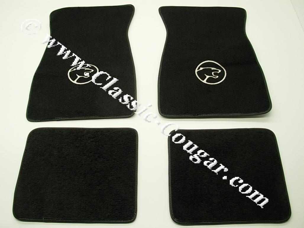 Floor Mats - BLACK Carpet - Cougar Head Logo - NEW ~ 1967 - 1973 Mercury Cougar - 14933
