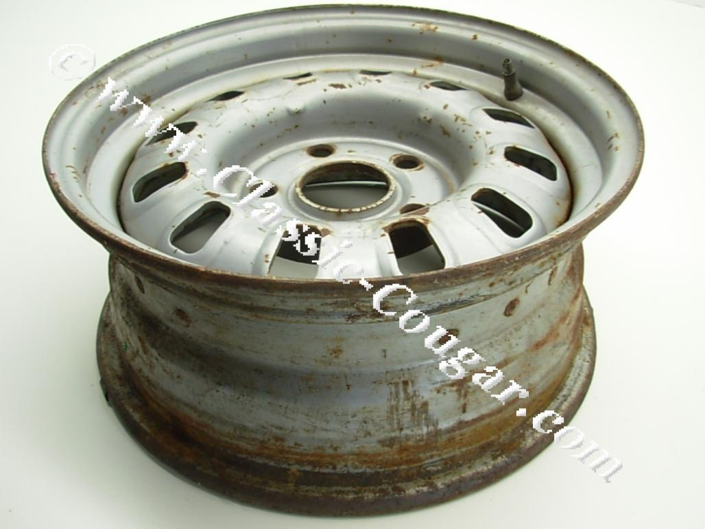 "Eliminator Wheel - 14"" X 6"" - Painted Center - Used ~ 1968 - 1969 Mercury Cougar / 1968 - 1969 Ford Mustang / Torino - 23502"