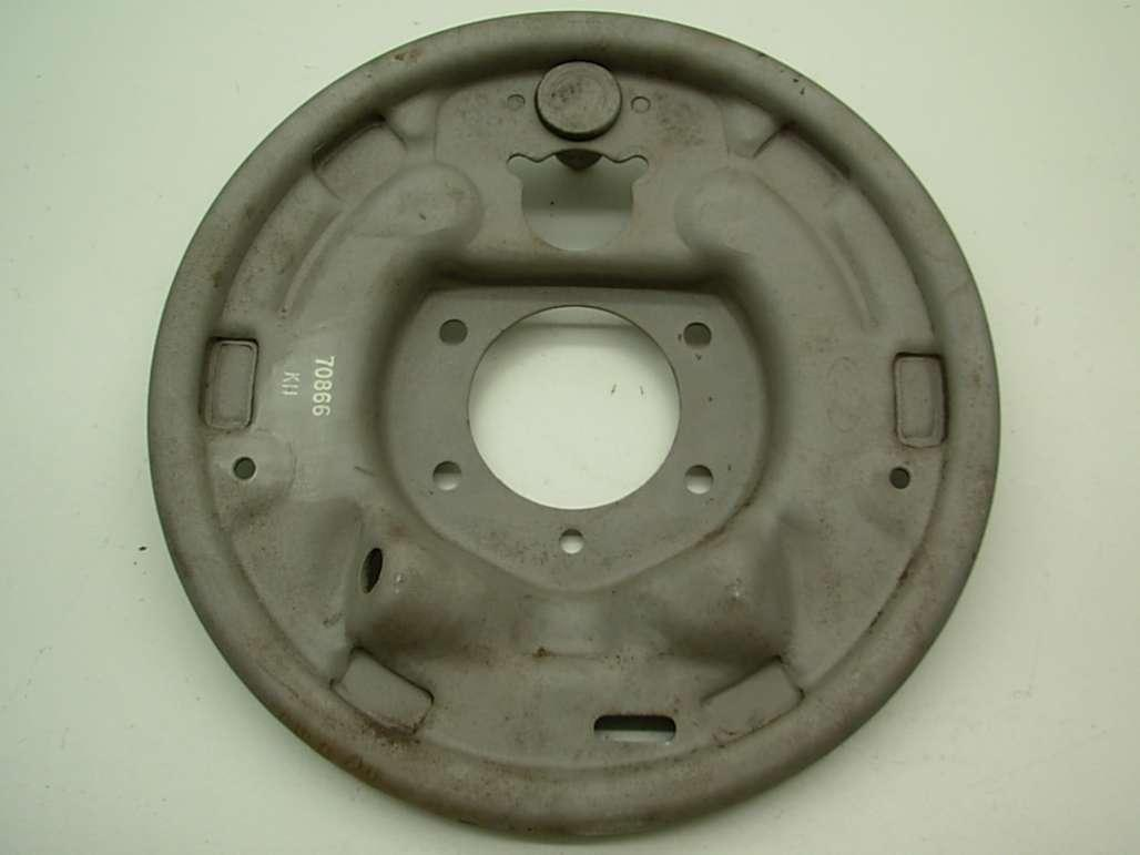 Brake Backing Plate - Rear Drum - 1 x 3/4 Inch - Passenger Side - Used ~ 1967 - 1968 Mercury Cougar / 1967 - 1968 Ford Mustang - 24617
