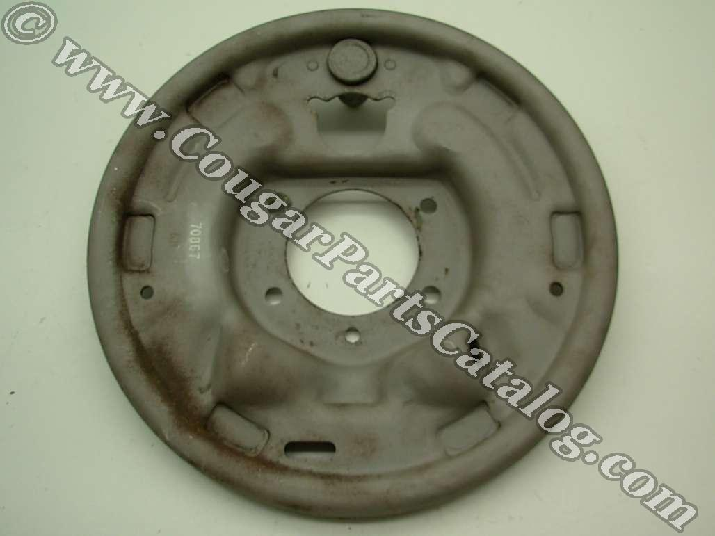 Brake Backing Plate - Rear Drum - 1 x 3/4 Inch - Driver Side - Used ~ 1967 - 1968 Mercury Cougar / 1967 - 1968 Ford Mustang - 24619