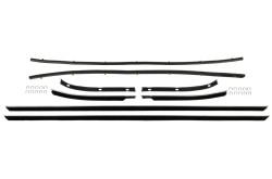 Beltline Weatherstrip Kit - Door and Quarter Glass - Standard / XR7 - Repro ~ 1967 - 1968 Mercury Cougar 1967,1967 cougar,1968,1968 cougar,beltline,c7w,c8w,cougar,door,felt,glass,kit,mercury,mercury cougar,new,quarter,repro,reproduction,standard,weatherstrip,window,xr7,window,felts,fuzzies,fuzzy,squeegee,wipes,whiskers,horizontal,strips,strip,quarter,panel,rubber,seal,repops