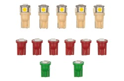 LED Bulbs - Dash Lights - Set of 13 - Repro ~ 1969 - 1970 Mercury Cougar 1969,1969 cougar,1970,1970 cougar,bright,c9w,cluster,color,cougar,d0w,dash,factory,gauge,led,light,mercury,mercury cougar,new,interior,bulb,repro,kit,package,bulb,plasma,diode,indicator,arrow,green,red,clear,white,upgrade,cluster,clock,xr7,standard,base,youtube,video,lite,light,emmiting