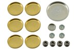 Brass and steel freeze plug or expansion plug set for any Ford 289  302  351W engine. 1967 70 Mercury Cougar and 1967 73 Ford Mustang. 15 piece set...