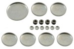 Steel freeze plug or expansion plug set for any Ford 390  427  428CJ engine. 1967 70 Mercury Cougar and 1967 70 Ford Mustang. 17 piece set with...